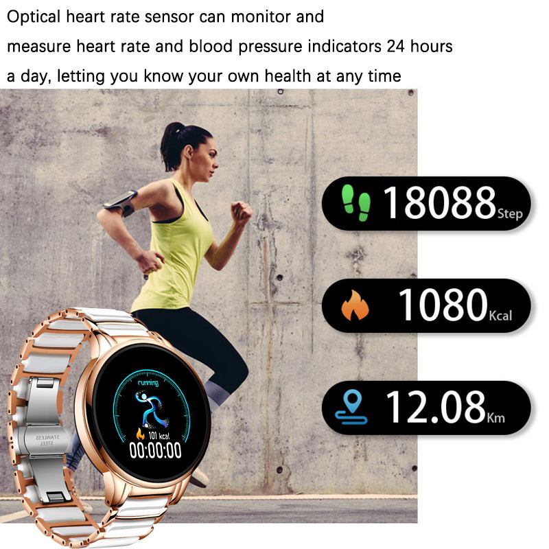LIGE Luxury Smart Watch Women Waterproof Sports Fitness Tracker For Android ios Reloj inteligente Ceramic Strap smart watch Men enlarge