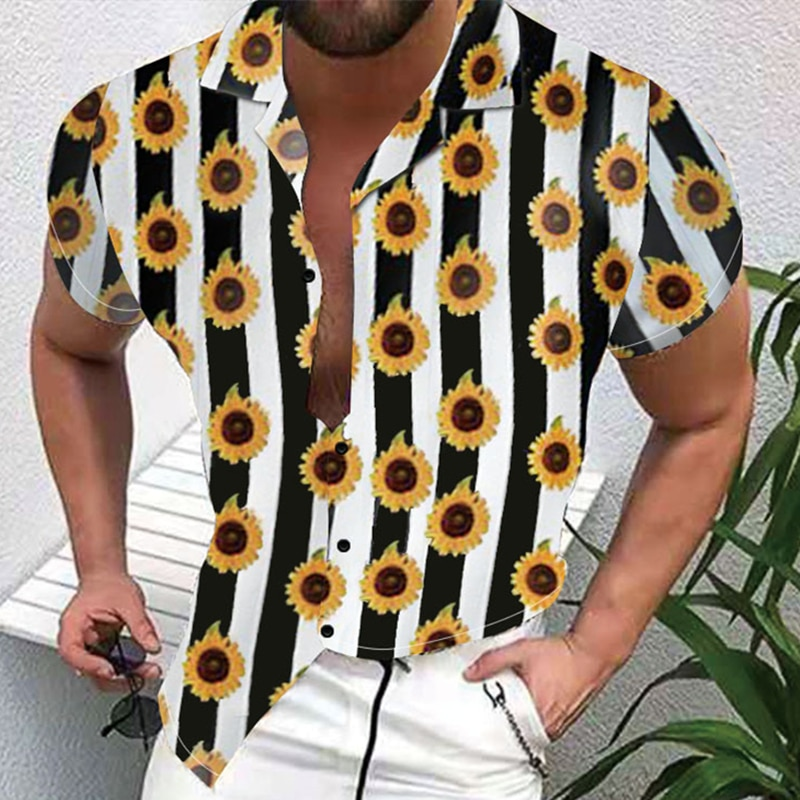Men's Summer Large Size M-3XL Thin Beach Style Print Casual Fashion Loose Lapel Cardigan Short Sleeve Shirt zogaa new summer breathable short sleeve polka dot print fashion casual slim short sleeve shirt 3xl