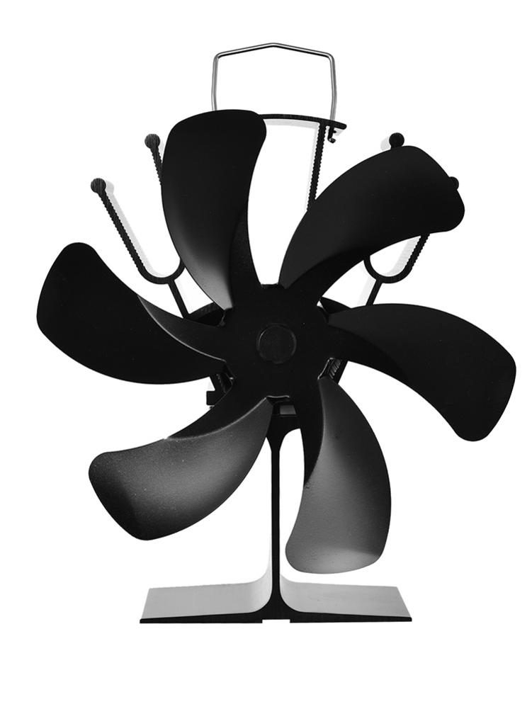 New Black Fireplace 6 Blade Heat Powered Stove Fan Log Wood Burner Eco Friendly Quiet Fan Home Efficient Heat Distribution