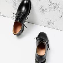 Oxfords Women Retro Brock Women's Shoes Calfskin Genuine Leather Square Toe Lace-Up Ladies Casual Fl