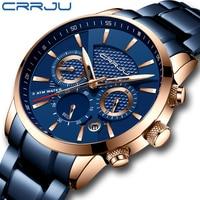 CRRJU Hot Sale Business Men Watch Fashion Blue Chronograph Stianless Steel Wristwatch Casual Waterproof Clock relogio masculino
