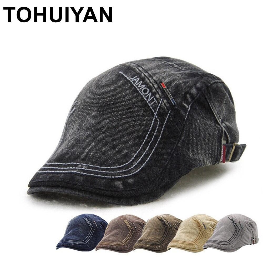 TOHUIYAN, Ретро стиль, хлопок, Newsboy, шапки для мужчин, буквы, вышивка, берет, шапки, британский стиль, Duckbill, шляпа, мужская, повседневная, Boina, плоски...