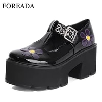 foreada t tied gothic shoes patent leather platform block high heels shoes round toe flower buckle strap footwear female 35 43