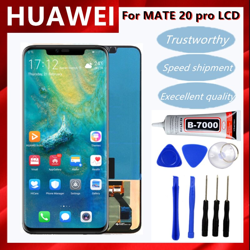 6.39'' Mate20 Pro Display with frame Replacement for Huawei Mate 20 Pro LCD Display Touch Screen Digitizer Repair Parts