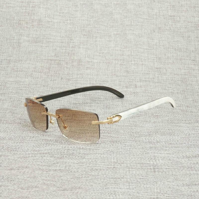 Vintage أسود أبيض بوفالو القرن بدون إطار النظارات الشمسية الرجال الخشب الطبيعي مربع النظارات الإطار النساء ظلال خشبية Oculos النظارات