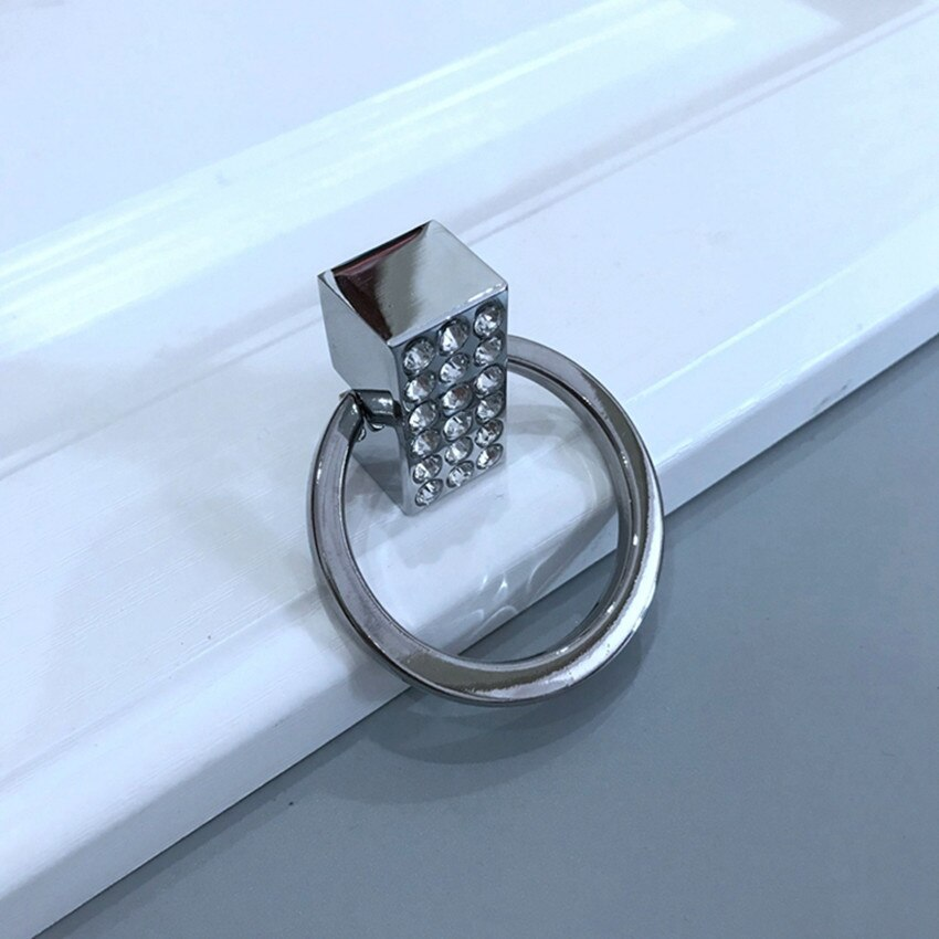 32mm moderno simple cromo plata cristal gota anillo armario vino gabinete manija bronce cajón gabinete del TV tirador para vestidor