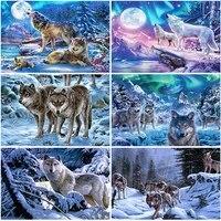 full square round drill diamond painting animal wolf rhinestone embroidery cross stitch winter scenery home decor handmade gift