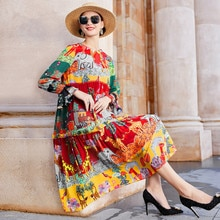 2021 New Spring Summer Women O Neck Printed Floral Dress Fashion Long-Sleeved Loose Silk Dresses Lad