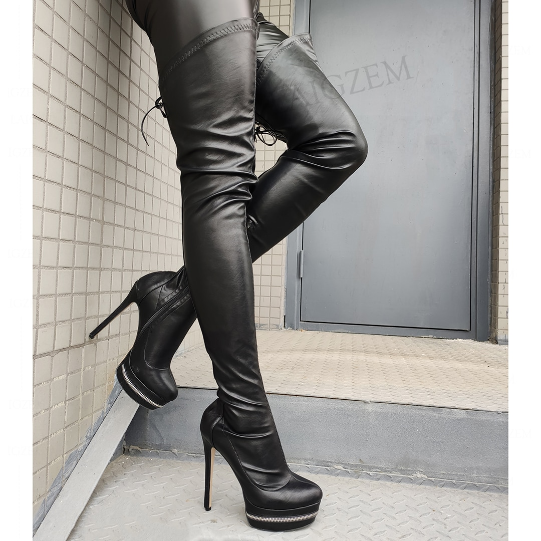 SEIIHEM موضة النساء فوق الركبة عالية منصة الأحذية مرونة زمم عالية الكعب الفخذ أحذية عالية أحذية امرأة كبيرة الحجم 46 47 50 52