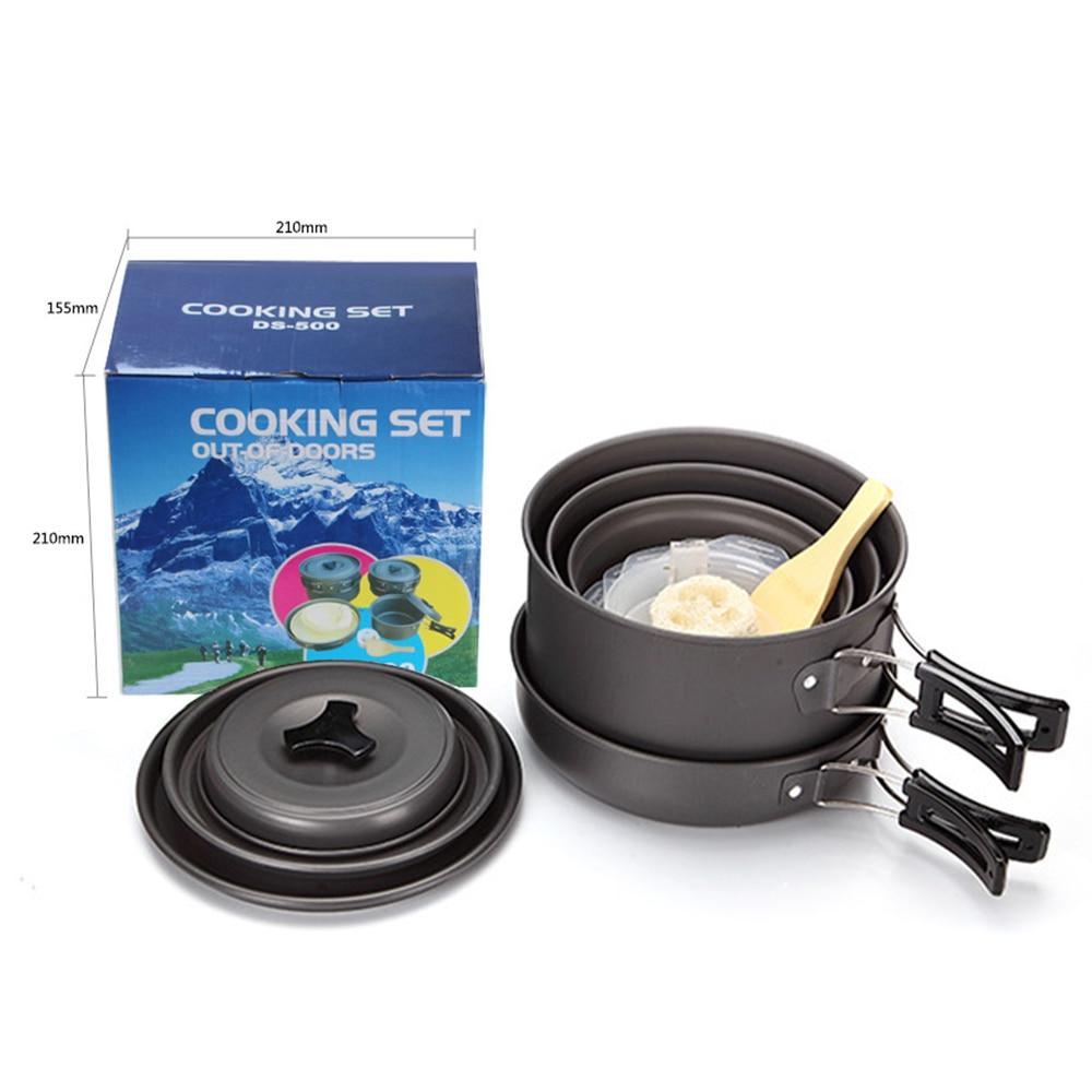 15pcs Camping Cookware Set Outdoor Hiking Cooking Picnic Bowl Pot Pan Cooking Tools Kit Camp Accessories