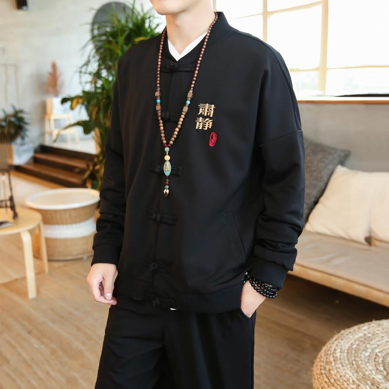 Abrigo chino tradicional + Pantalones hombres personaje bordado Tang Suit Tai Chi Kung Fu Master disfraz cazadora CN-013 masculina