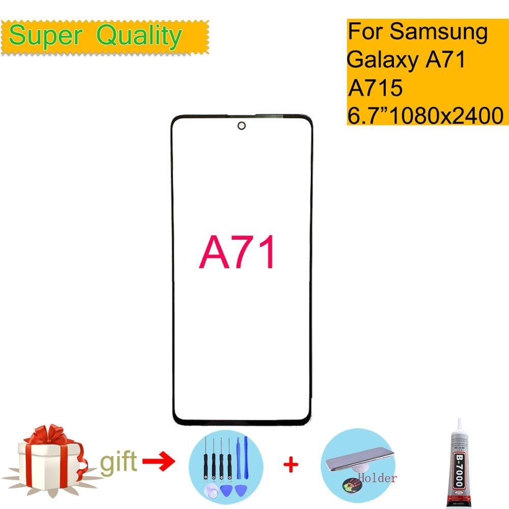 Reemplazo de 6,7 pulgadas para Samsung Galaxy A71 pantalla táctil Pantalla táctil frontal LCD lente de pantalla exterior A71 A715 SM-A715F/DSN cristal frontal