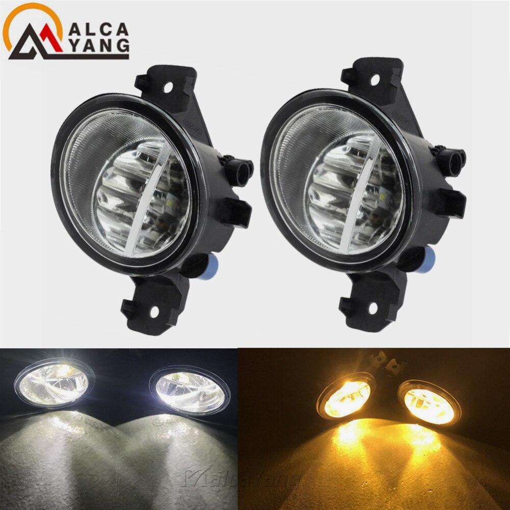 2 pçs led luzes de nevoeiro para renault symbol (lb0/1/2 _) saloon clio vel thalia modus hatchback 1998-2015 branco amarelo