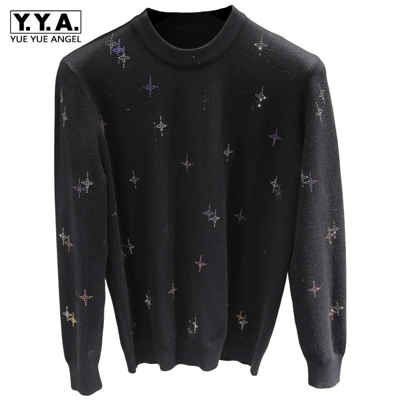 Gypsophila Colored Hot Diamond Sweater Men Round Neck Long-Sleeve Slim Fit Elastic Pullover Black Fashion Tops Autumn Winter