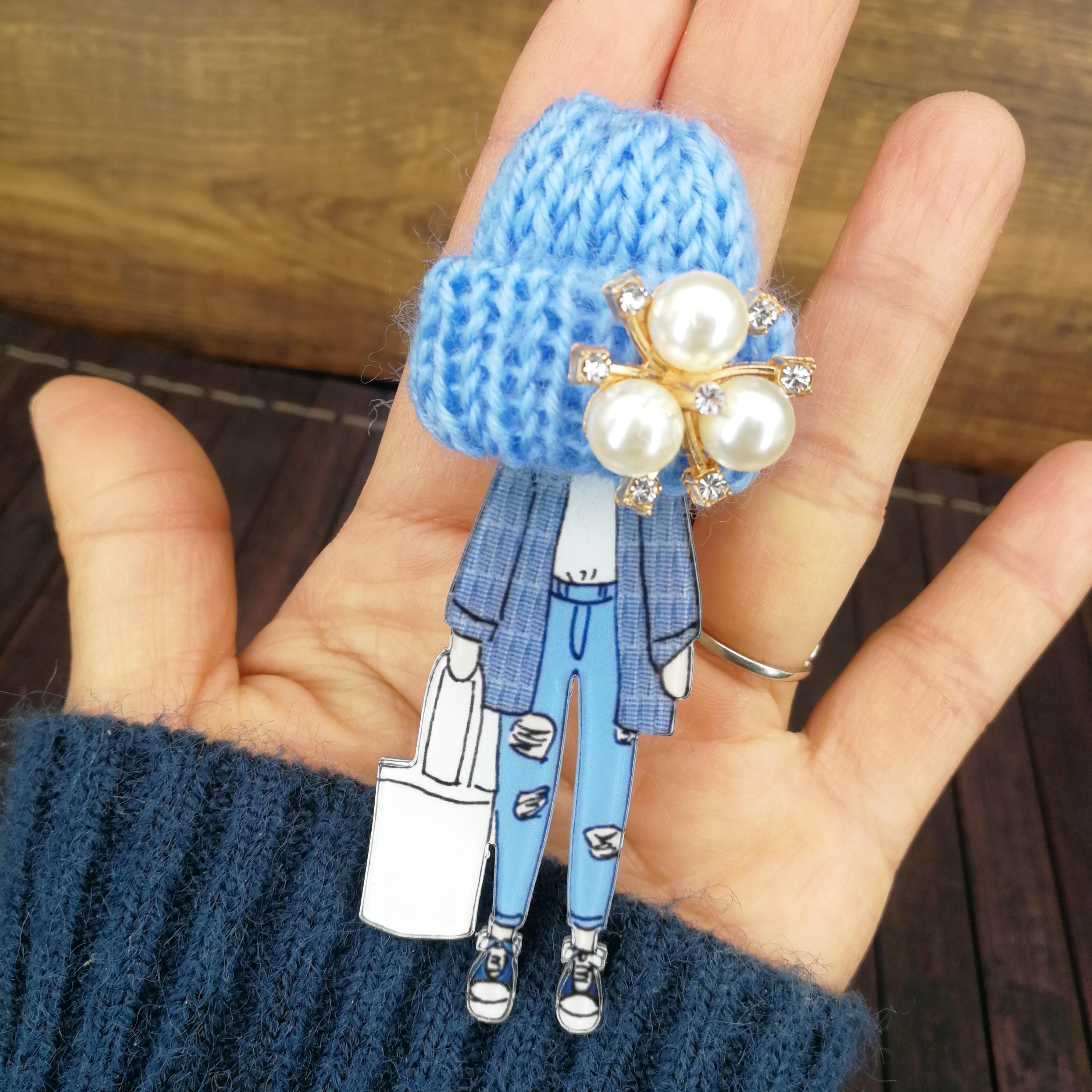 Girls Cute Brooches for Woman Wool Hat Crystal Pearl Cartoon Badges Brooch Pins Fashion Harajuku Pins Icons Gifts Drop-Shipping