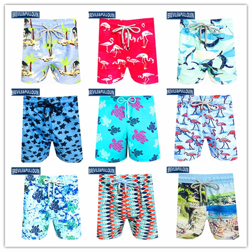 Venda quente 2020 marca de moda brevile pullquin praia board shorts homens tartarugas maiôs sereia flamingo golfinho beachwear M-XXXL
