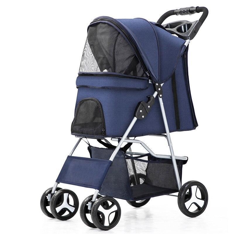 Pet stroller Baby Stroller Newborn Cat Stroller Dog Pull Cart Double-layer Lightweight Four-wheel Shock Absorption Folding