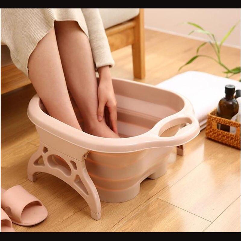 Lavamanos plegable para pies, cubeta para remojo de pies, Cubo de masaje para pies, portátil para adultos con diseño de masaje, lavabo de baño para pies doméstico