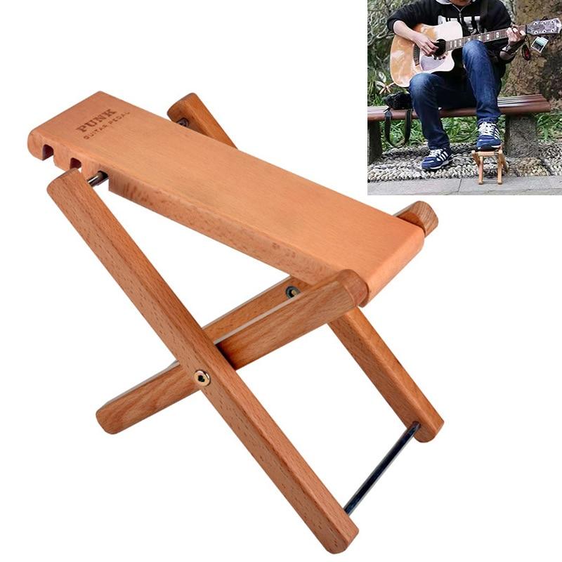 Taburete de Pedal de guitarra plegable de madera maciza con 3 niveles de altura de Pie ajustable