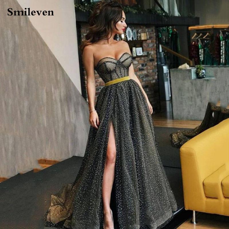 فساتين سهرة سوداء متواضعة من Smileven 2021 A Line تولّ لامع فساتين حفلات مثيرة رداء دي ماري فساتين الحفلات المسائية