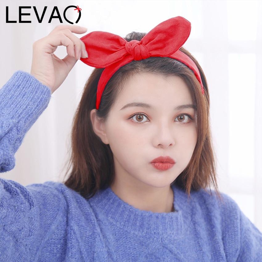 LEVAO Hair Bow Rabbit Ear Headband Solid Color Plaid Hairband 2020 New Hair Hoops Girls Cute Hair Bezels Hair Accessories