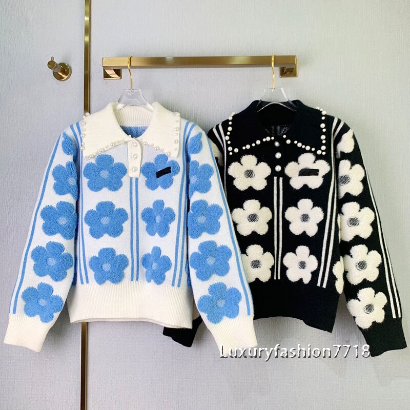 Women clothes 2021 korean fashion autumn sweaters Flower jacquard pearl doll neck Lapel Design knitting woman sweater jumpers enlarge