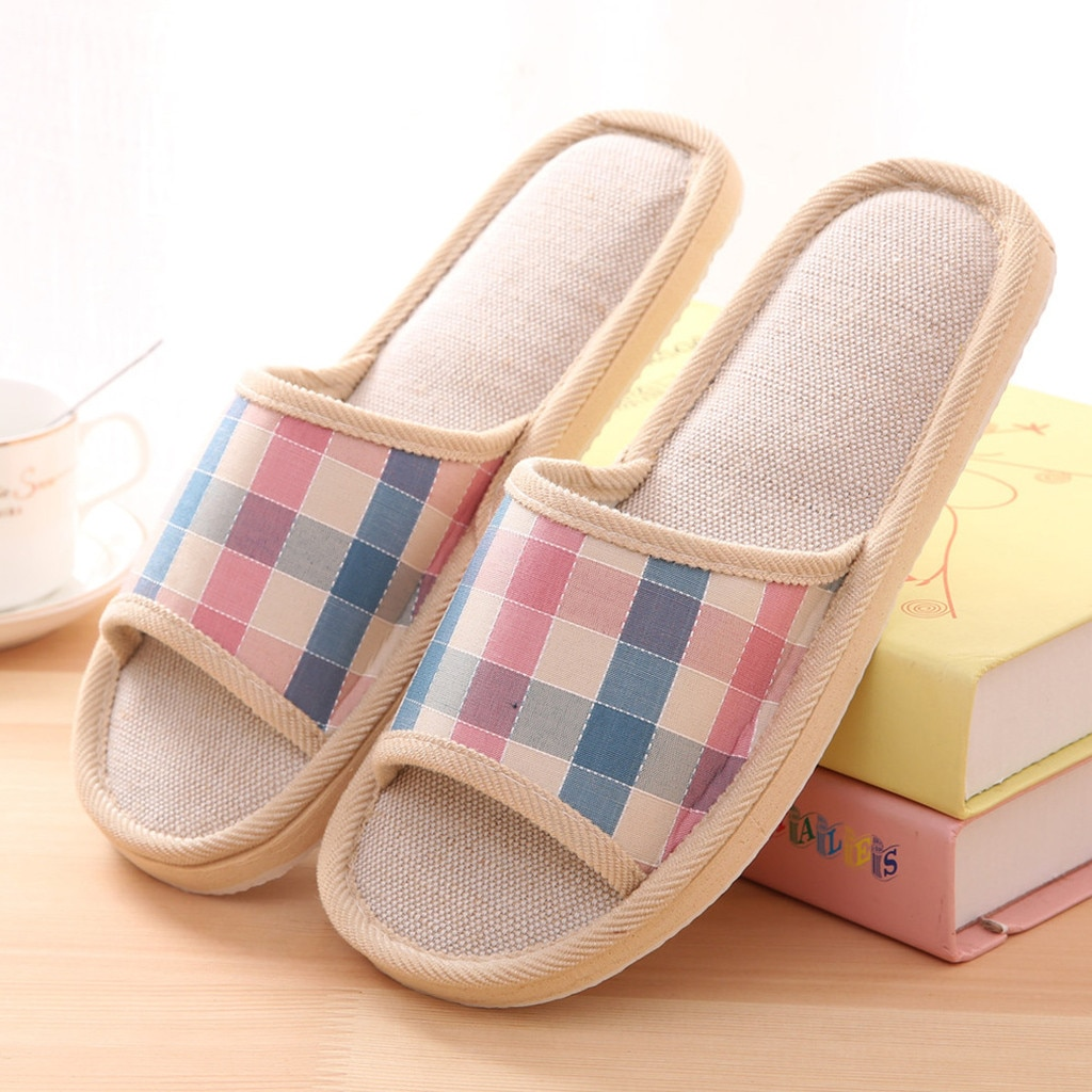 Women's Fashion Casual Couples Gingham Home Slippers Indoor Floor Cotton Flat Shoes Slip-on breathab