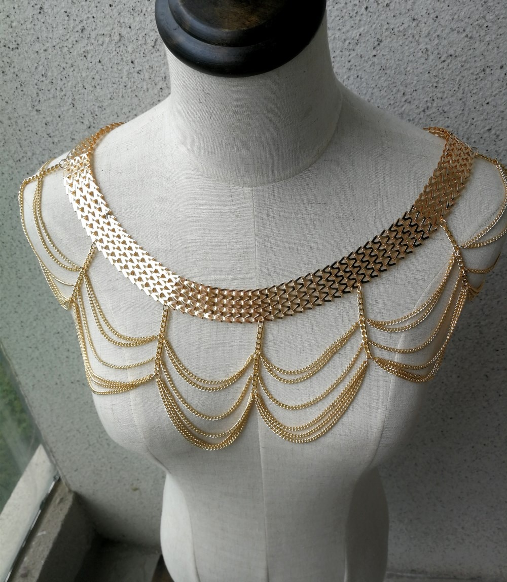Mail Chain Twitter Neck Body Shoulders Chain Jewelry Women Tassel Body Chains Jewellery Colors Gold Silver Choose