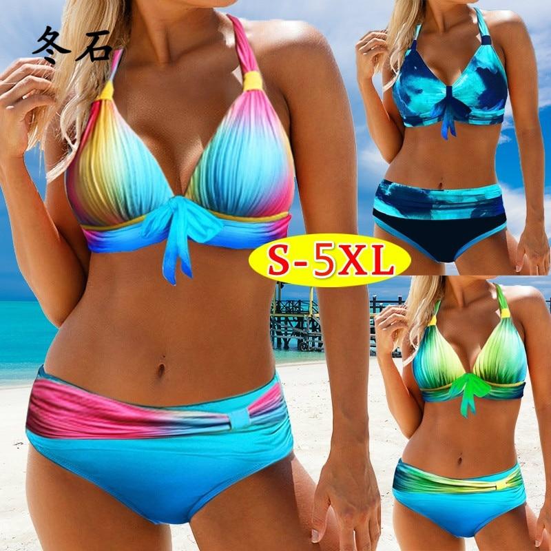Bikini de talla grande para mujer, traje de baño con estampado azul degradado, Bikini sexi de talla grande para S-5XL, ropa de playa