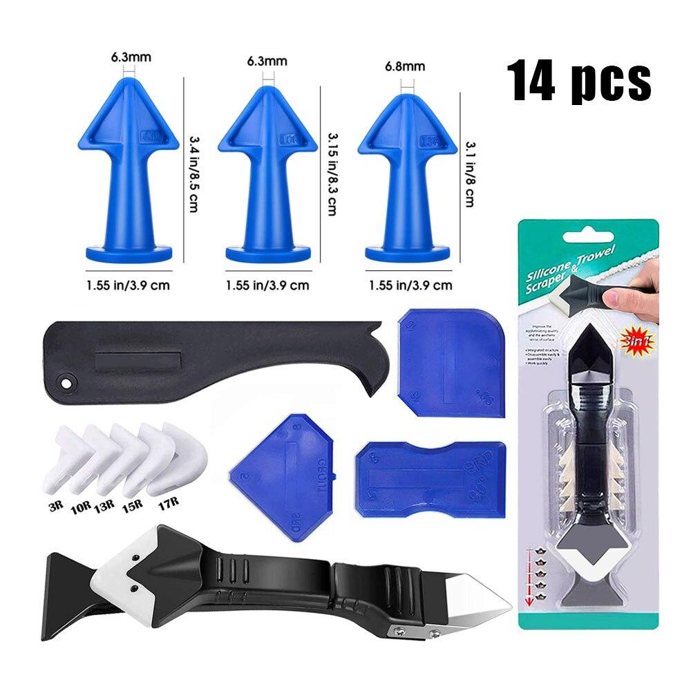 14Pcs Caulking Tools 3 in 1 Silicone Caulking Nozzle Finishing Tool Kit Sealant Caulk for Kitchen Bathroom Window