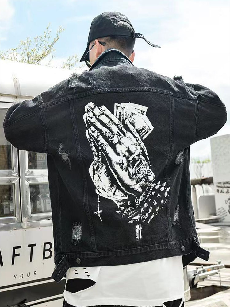 20SS Harajuku Hand Print Hole Ripped Jeans for Men Oversize Vintage Loose Casual Hip Hop Denim Jacket Windbreaker Bomber Jacket