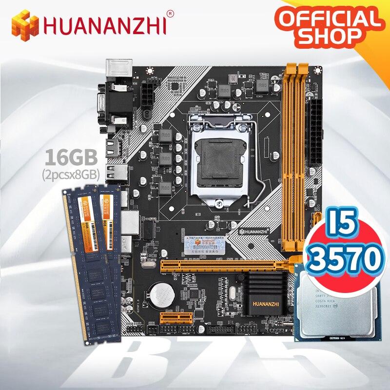 HUANANZHI B75 Motherboard M-ATX mit Intel Core i5 3570 und 2*8GB DDR3 NON-ECC speicher combo kit set SATA 3,0 USB 3,0 VGA + DVI + HDMI