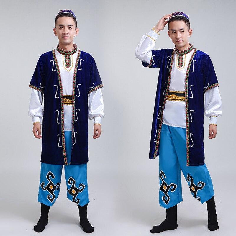 2019 nowych mężczyzna Xinjiang pokaz taneczny odzież dla dorosłych Hui Uygur grupa etniczna mniejszość etniczna kazachskie ubrania i akcesoria
