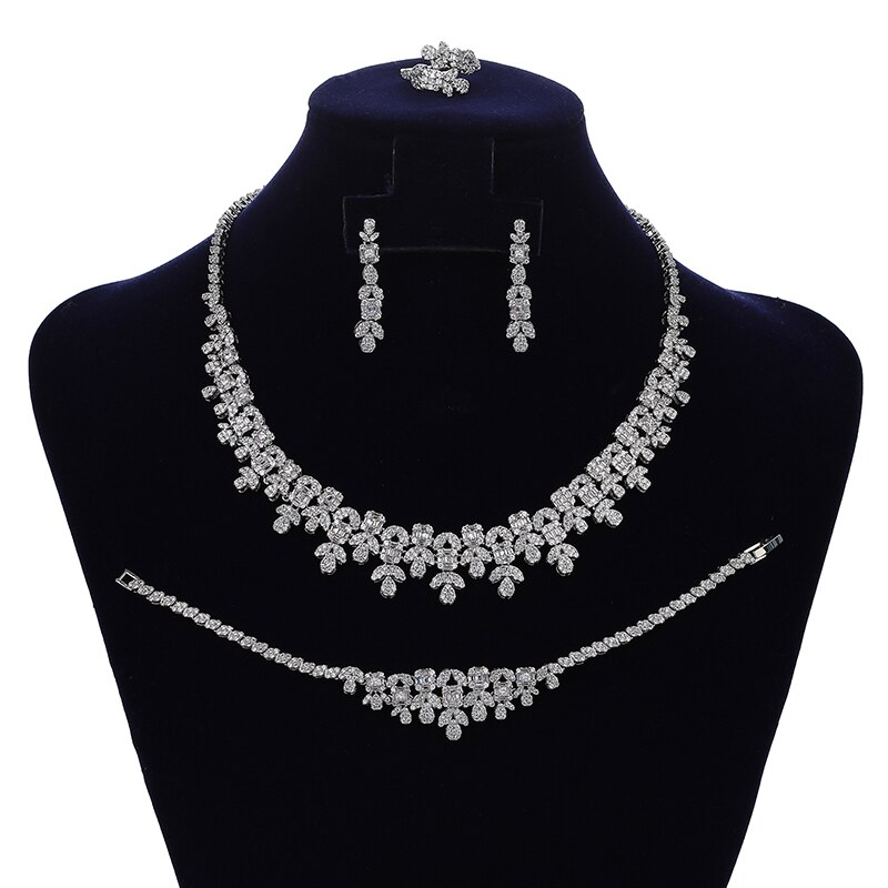 HADIYANA-طقم مجوهرات نسائي ، طقم مجوهرات رائع ، عقد وأقراط ، خاتم وسوار ، مجوهرات زفاف CN1826 Bisuteria