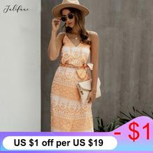 Women Summer Dress Sleeveless Backless V Neck Straps Wrap Dress Lady Printed Slip Cotton Lace Up Midi Dresses Vestido 2020 New