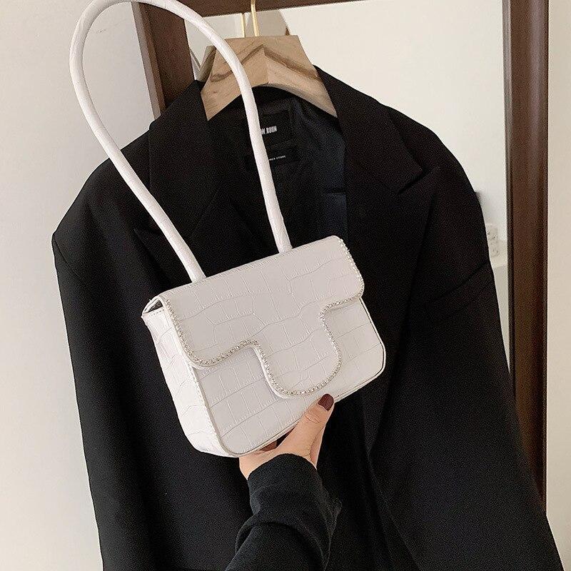 Urban Simple Crocodile Pattern Rhinestone Ladies Bag Spring 2021 New One-shoulder Underarm Bag Korean Fashion Small Square Bag