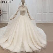 Dubai lujo Champagne Sequins Sexy de talla grande vestidos de novia 2020 sin mangas con capa velos de novia vestidos BHX0160 Couture Dress