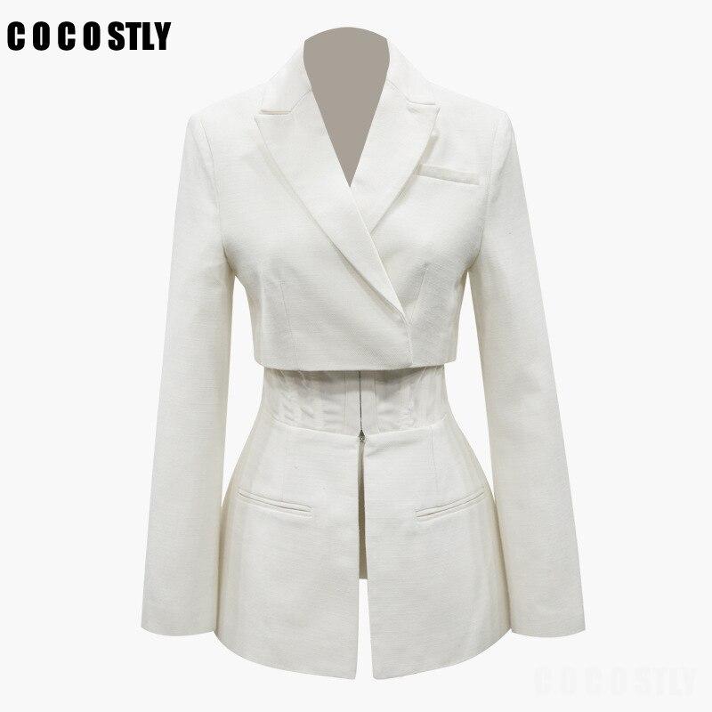بليزر نسائي أبيض عادي غير رسمي ، طية صدر السترة ، أكمام طويلة ، خصر مرتفع ، زر نحيف ، ملابس عصرية ، موضة خريف 2020 الجديدة