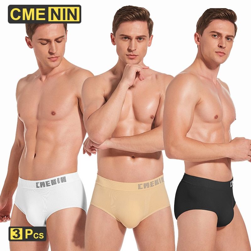 CMENIN 3Pcs Seamless Sexy Mesh Underpants Men Underwear Briefs Pouch Gay Men Cotton Breathable Under