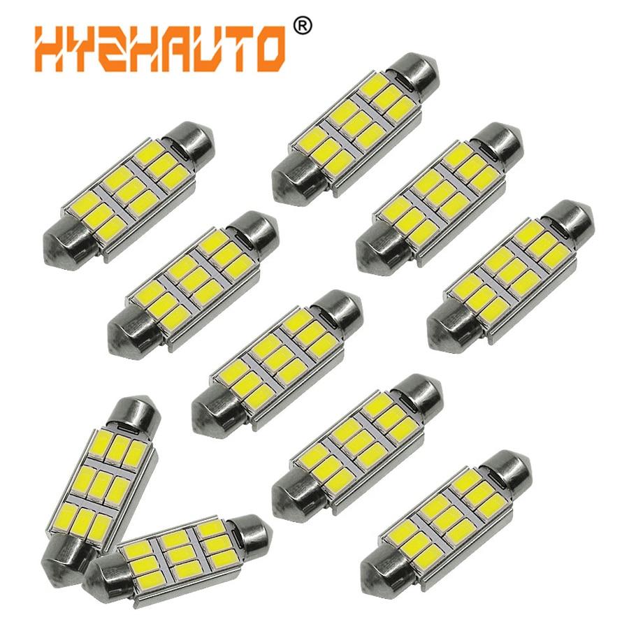 10 Uds C5W LED Canbus bombillas 31mm 36mm 39mm 41mm de adorno de coche lámpara de Interior para lectura Auto LED de las luces de la matrícula de 5630SMD blanco 12V