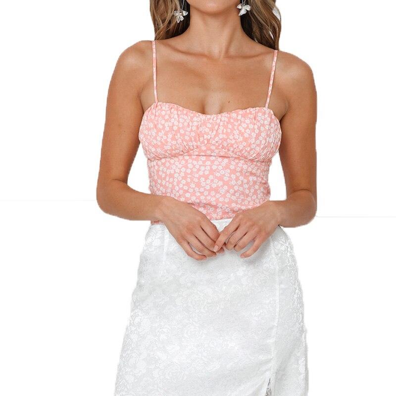 Summer 2019 casual pink crop top print womens clothing off shoulder top sexy halter top women
