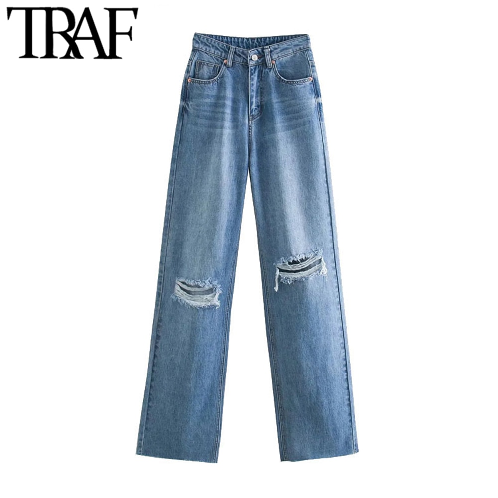 TRAF Women Chic Fashion Ripped Hole Wide Leg Jeans Vintage High Waist Zipper Fly Denim Pants Female