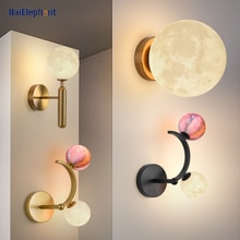 Creative Moon And Colorful Ball Deco Wall Lamps For Living Room Bedroom Bedside Corridor 3D Printing