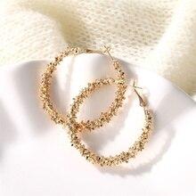 FNIO 여성을위한 새로운 빈티지 귀걸이 골드 실버 컬러 라운드 진술 귀걸이 디자인 금속 과장 파티 패션 쥬얼리