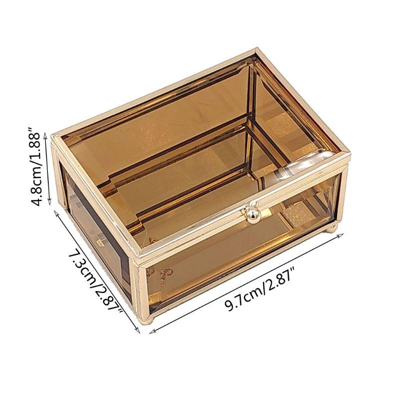 Geometrical Gold Glass Jewelry Box Jewelry Organize Holder Plants Container X7JB