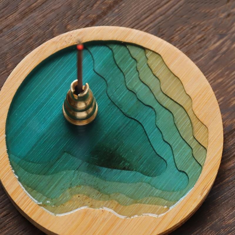 Encensoir bambou naturel   Brûleur dencens en bambou naturel, plaque anti-moustiques bâton encensoir bois de santal, décoration de la maison artisanat plateau art Souvenir cadeau