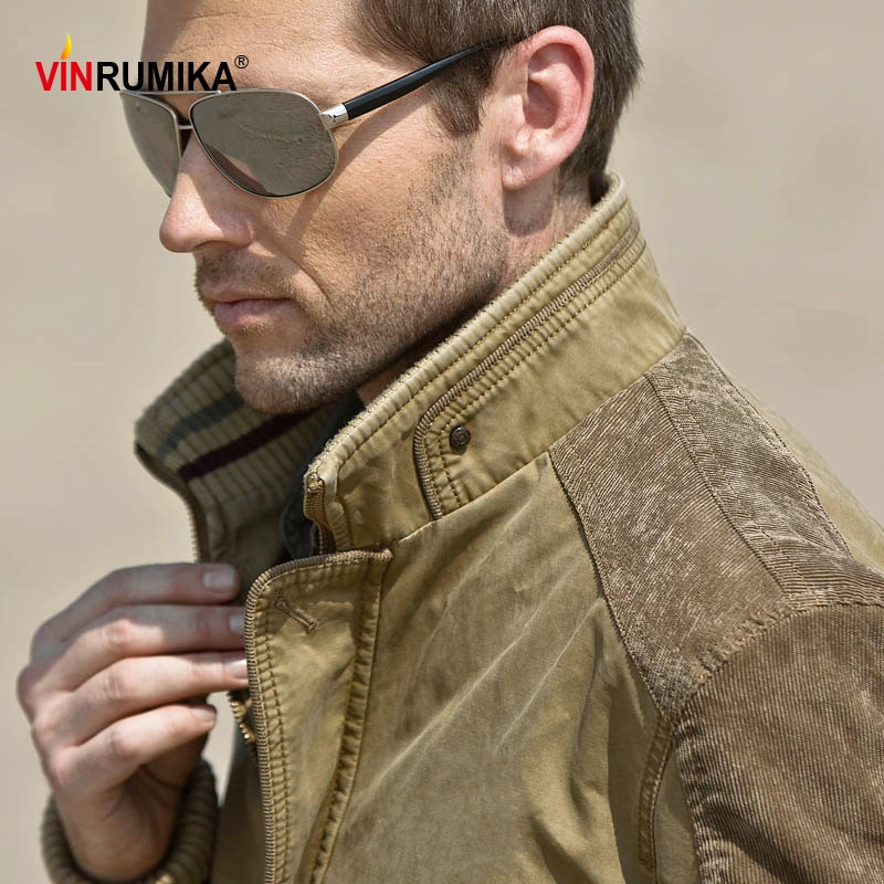 Large Size M-5XL 2020 Autumn Europe Mens Classic Brand Good Quality 100% Cotton Khaki Jackets Man Spring Black Blue Jacket Coat