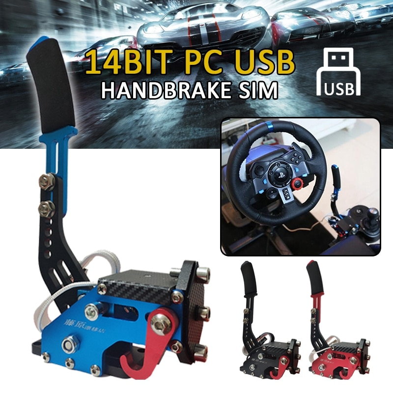 Pcmos 2020 pc 14bit usb handbrake sim para g25/g27/g29 t500 jogos de corrida fanatecosw sujeira rally sistema freio de mão vermelho preto azul