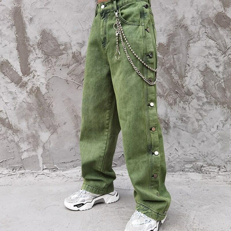 Novedad de 2020, pantalones Vintage de calle alta, pantalones vaqueros Con parte inferior, pantalones vaqueros de Denim de Hip Hop, pantalones vaqueros rectos holgados, Hipster holgado