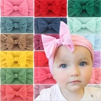 european and american new ins hot selling ornament super soft nylon bow cute baby hair accessories hair band 27 colors